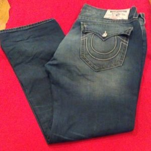 TRUE RELIGION STRAIGHT W FLAP STEP CLOSER 38 X 34